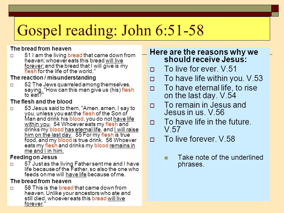 Gospel reading: John 6:51-58 The bread from heaven  51 I am the living bread that came down from heaven; whoever eats this bread will live forever; a