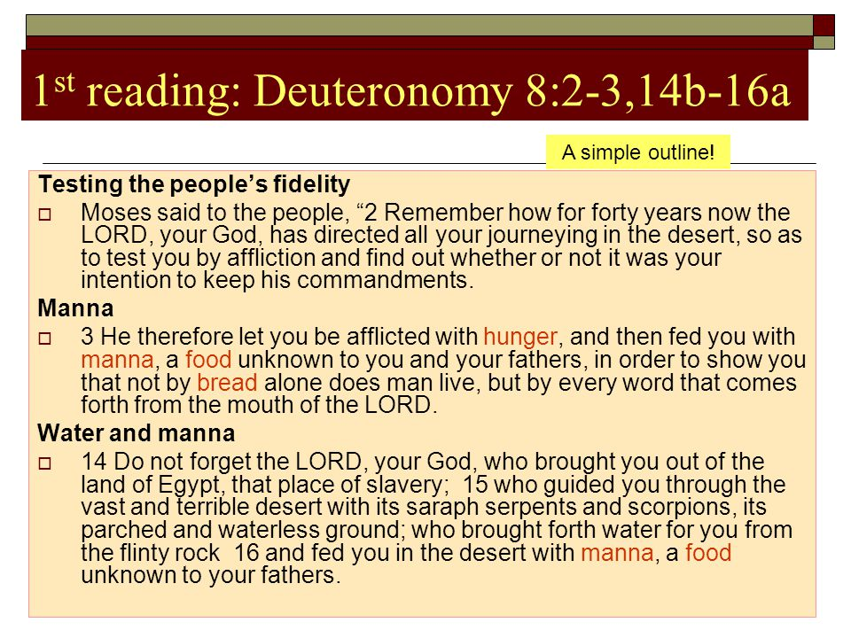 """1 st reading: Deuteronomy 8:2-3,14b-16a Testing the people's fidelity  Moses said to the people, """"2 Remember how for forty years now the LORD, your G"""