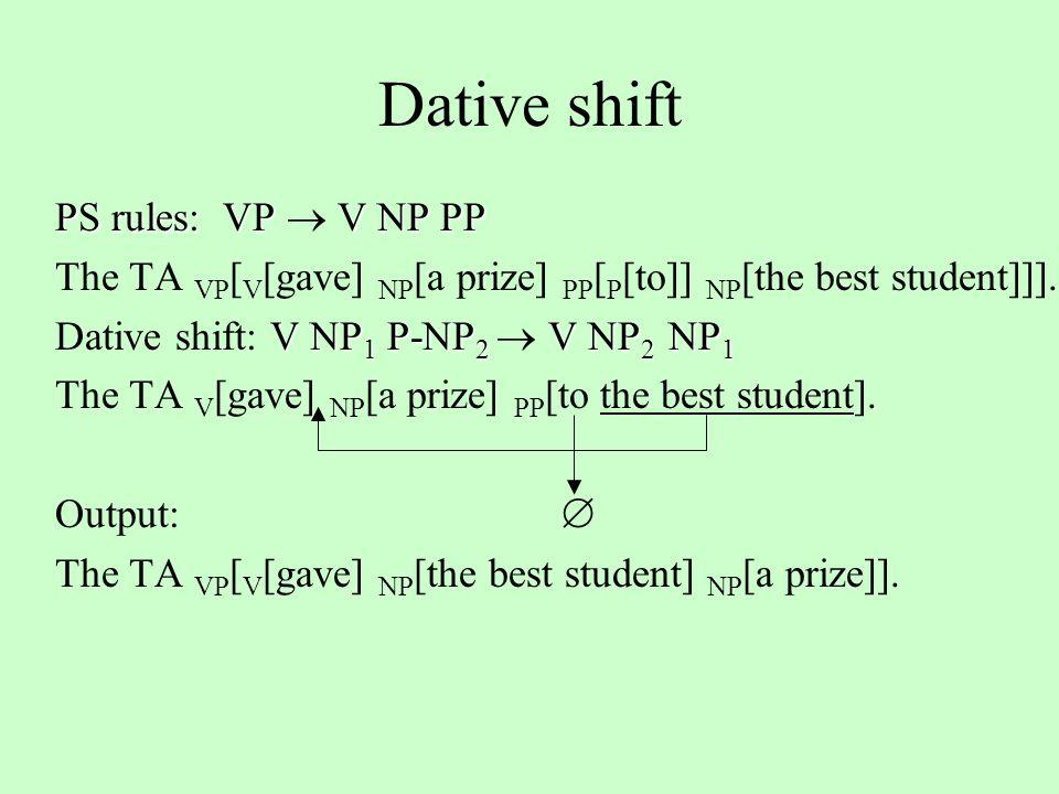 Dative shift PS rules: VP V NP PP PS rules: VP  V NP PP The TA VP [ V [gave] NP [a prize] PP [ P [to]] NP [the best student]]].