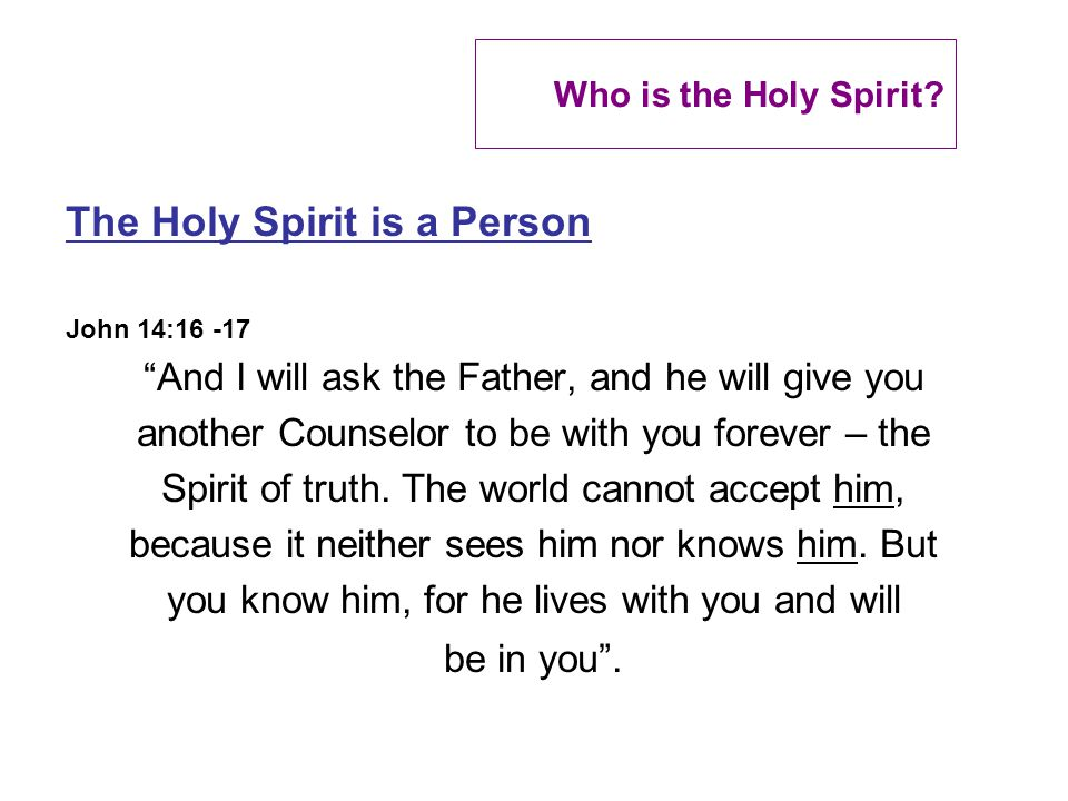 Who is the Holy Spirit.