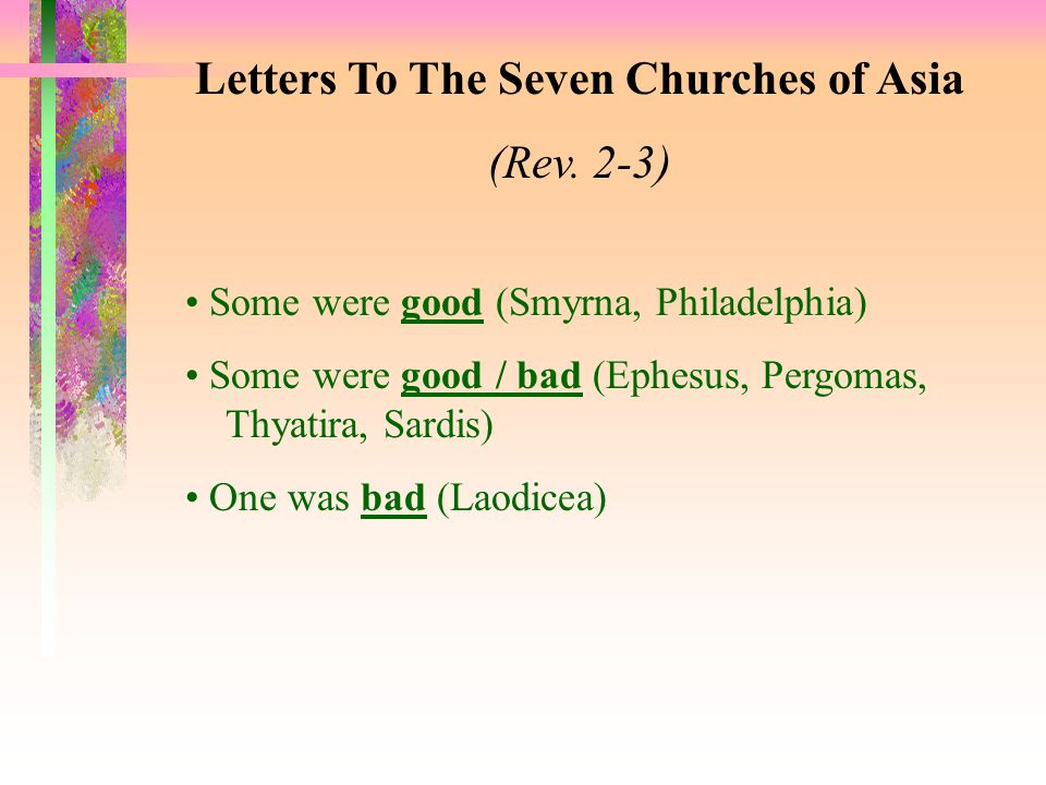 Letters To Seven Church of Asia (Rev.