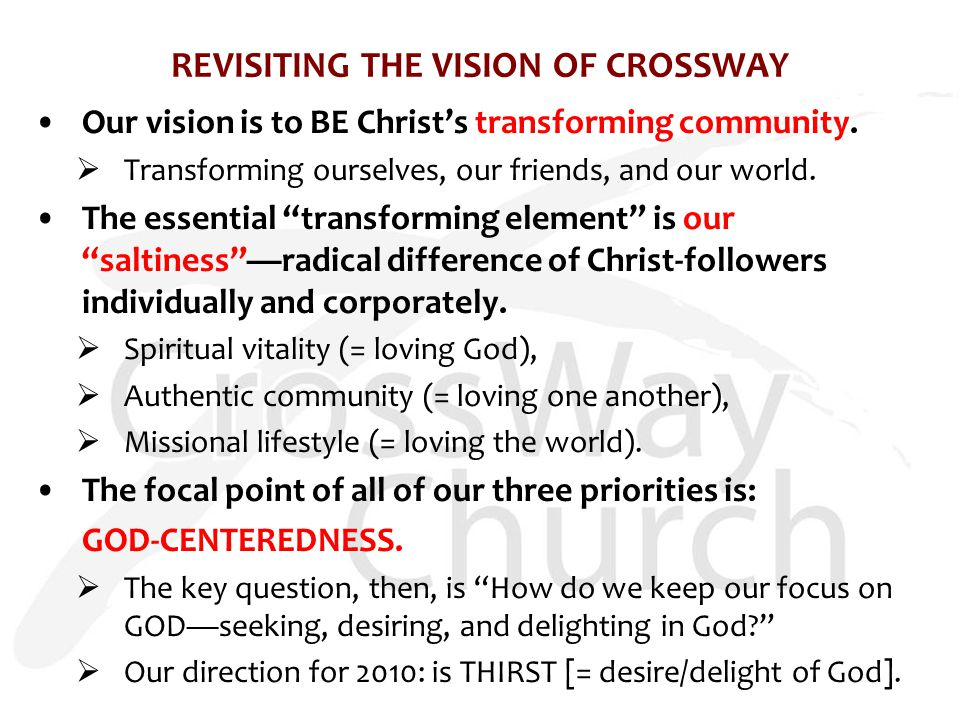 REVISITING THE VISION OF CROSSWAY Our vision is to BE Christ's transforming community.