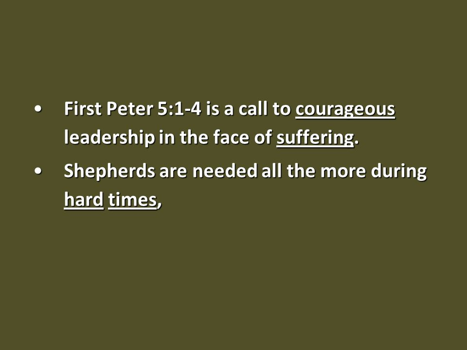 Three key reminders to leaders It's about the sheep not the shepherd (v.2d)It's about the sheep not the shepherd (v.2d) not under compulsion, but willingly, as God would have you; not for shameful gain, but eagerly (v.2d)
