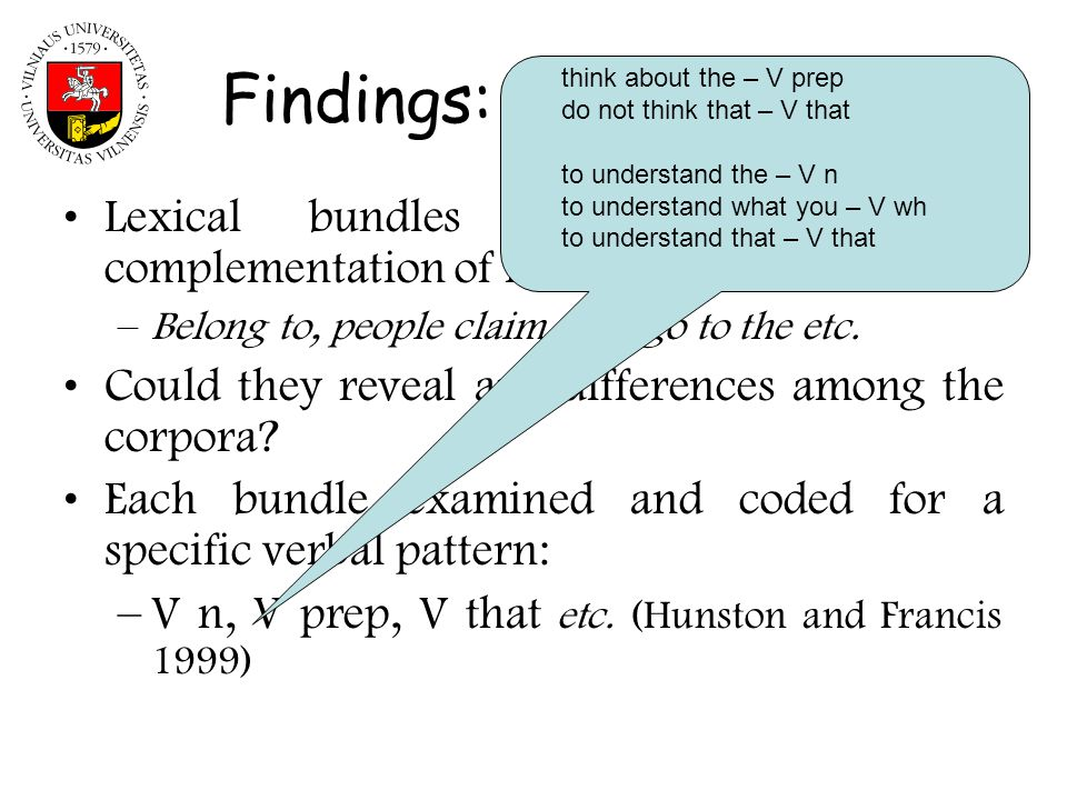 Findings: verbal bundles Lexical bundles contain patterns of complementation of individual words: –Belong to, people claim that, go to the etc. Could