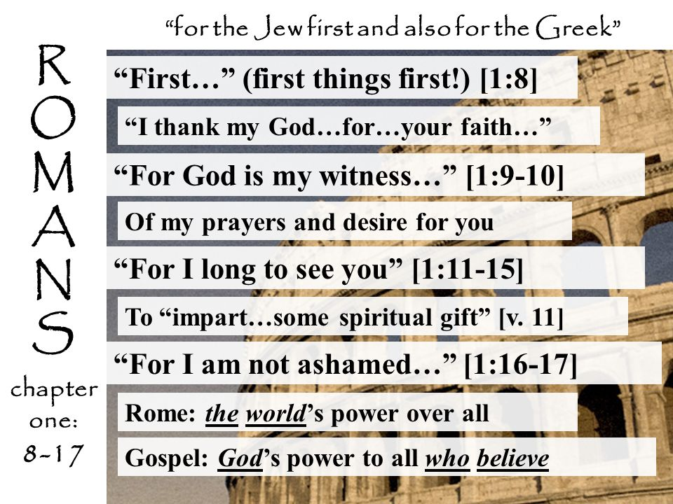 """R O M A N S chapter one: 8-17 """"First…"""" (first things first!) [1:8] """"I thank my God…for…your faith…"""" """"for the Jew first and also for the Greek"""" """"For Go"""