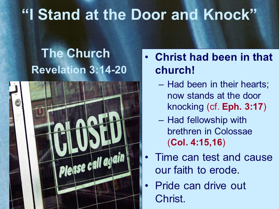 The Church Revelation 3:14-20 have need of nothing (v.17) – For My people have committed two evils: They have forsaken Me, the fountain of living waters, And hewn themselves cisterns––broken cisterns that can hold no water. (Jer.