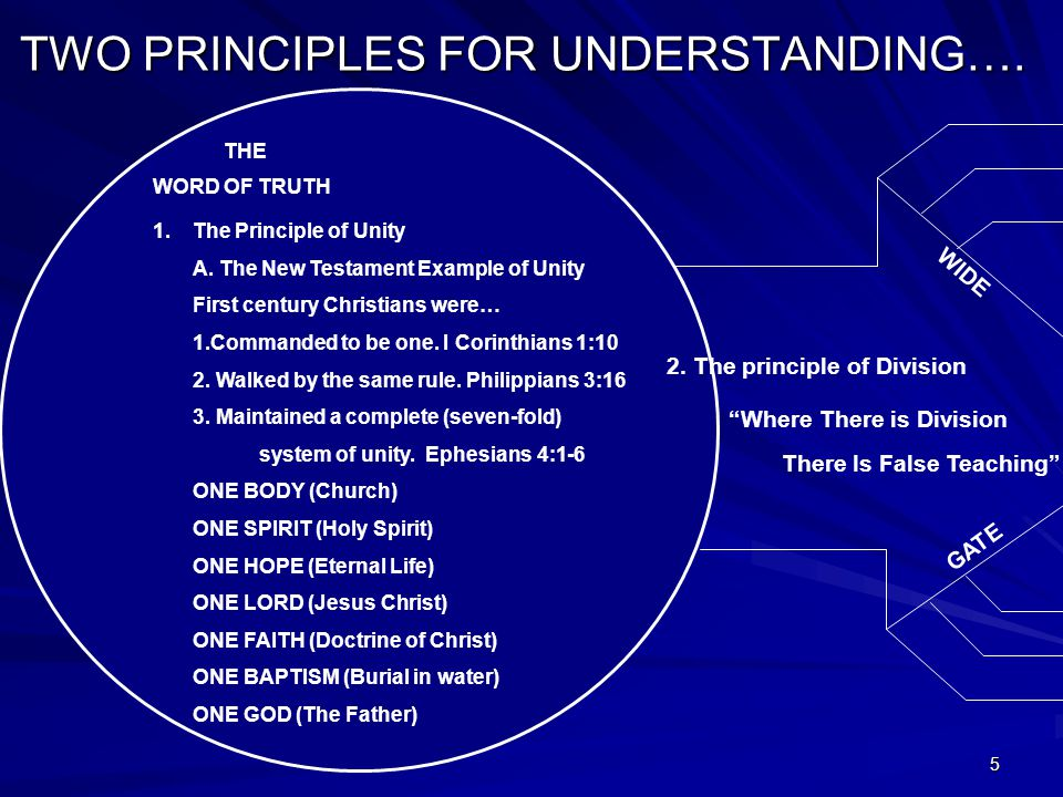5 TWO PRINCIPLES FOR UNDERSTANDING…. WORD OF TRUTH THE 1.The Principle of Unity A.