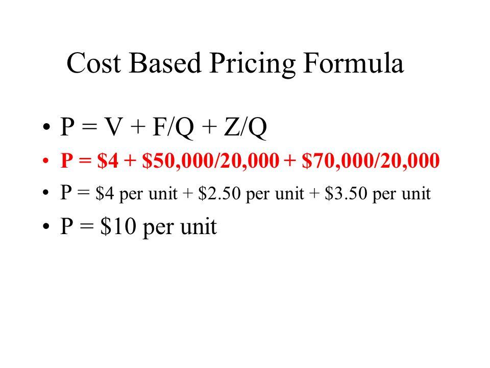 P = V + F/Q + Z/Q P = $4 + $50,000/20,000 + $70,000/20,000 P = $4 per unit + $2.50 per unit + $3.50 per unit P = $10 per unit Cost Based Pricing Formula