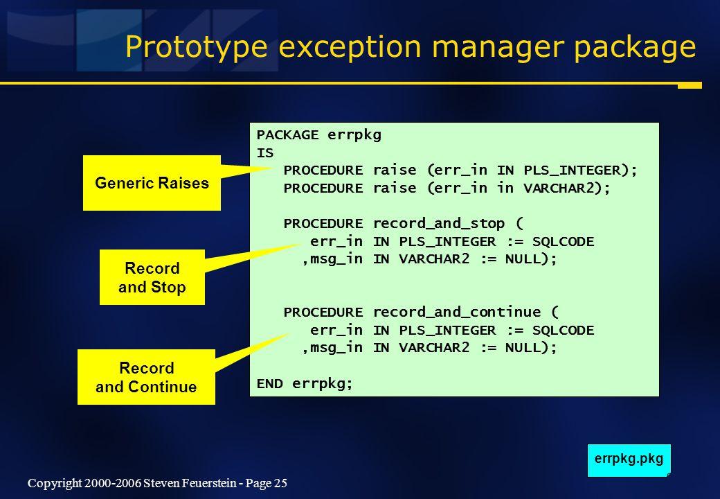 Copyright 2000-2006 Steven Feuerstein - Page 25 Prototype exception manager package PACKAGE errpkg IS PROCEDURE raise (err_in IN PLS_INTEGER); PROCEDU