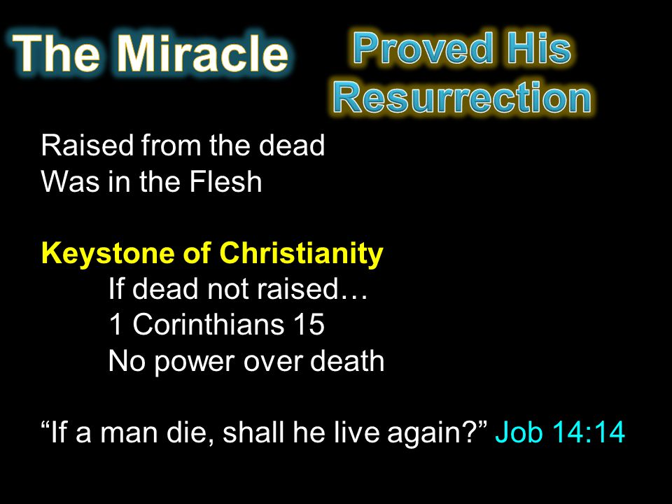Raised from the dead Was in the Flesh Keystone of Christianity If dead not raised… 1 Corinthians 15 No power over death If a man die, shall he live again? Job 14:14