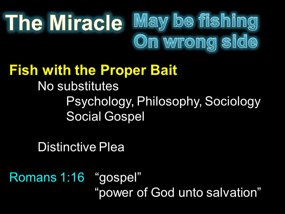 "Fish with the Proper Bait No substitutes Psychology, Philosophy, Sociology Social Gospel Distinctive Plea Romans 1:16 ""gospel"" ""power of God unto salv"