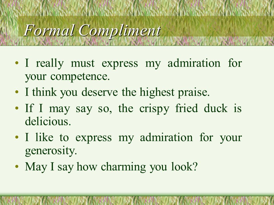 Informal Compliment Informal Compliment Just look at it.