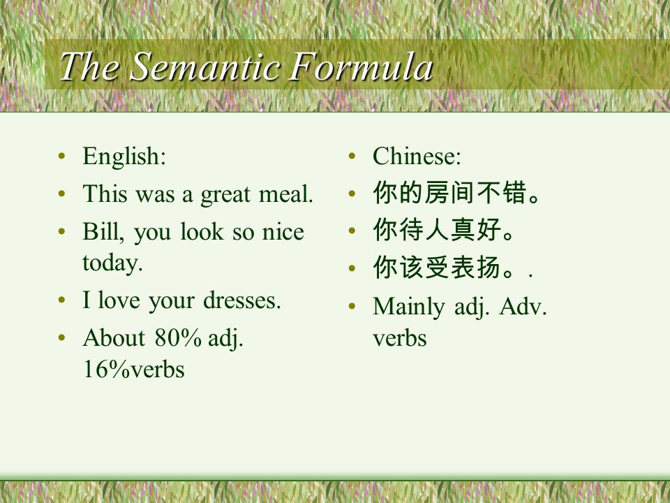 Differences between Chinese compliments and English compliments The Semantic formula The Syntactic Formula Common responses formula in E- and C- compliments
