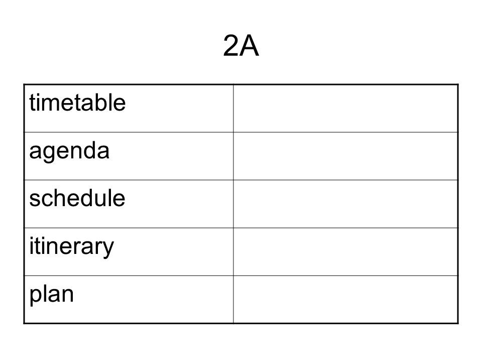 2A timetable agenda schedule itinerary plan