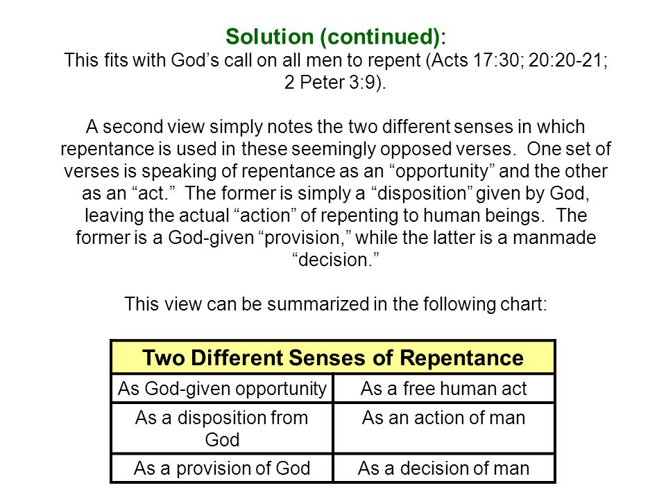 Solution (continued): This fits with God's call on all men to repent (Acts 17:30; 20:20-21; 2 Peter 3:9).