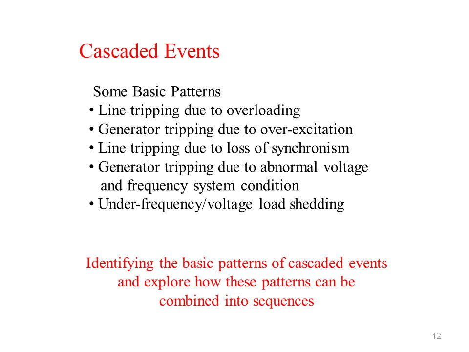 Cascaded Events Some Basic Patterns Line tripping due to overloading Generator tripping due to over-excitation Line tripping due to loss of synchronis