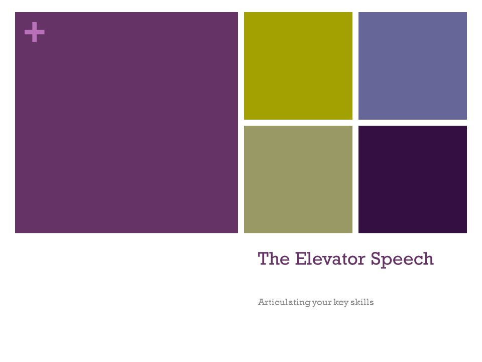 + The Elevator Speech Articulating your key skills