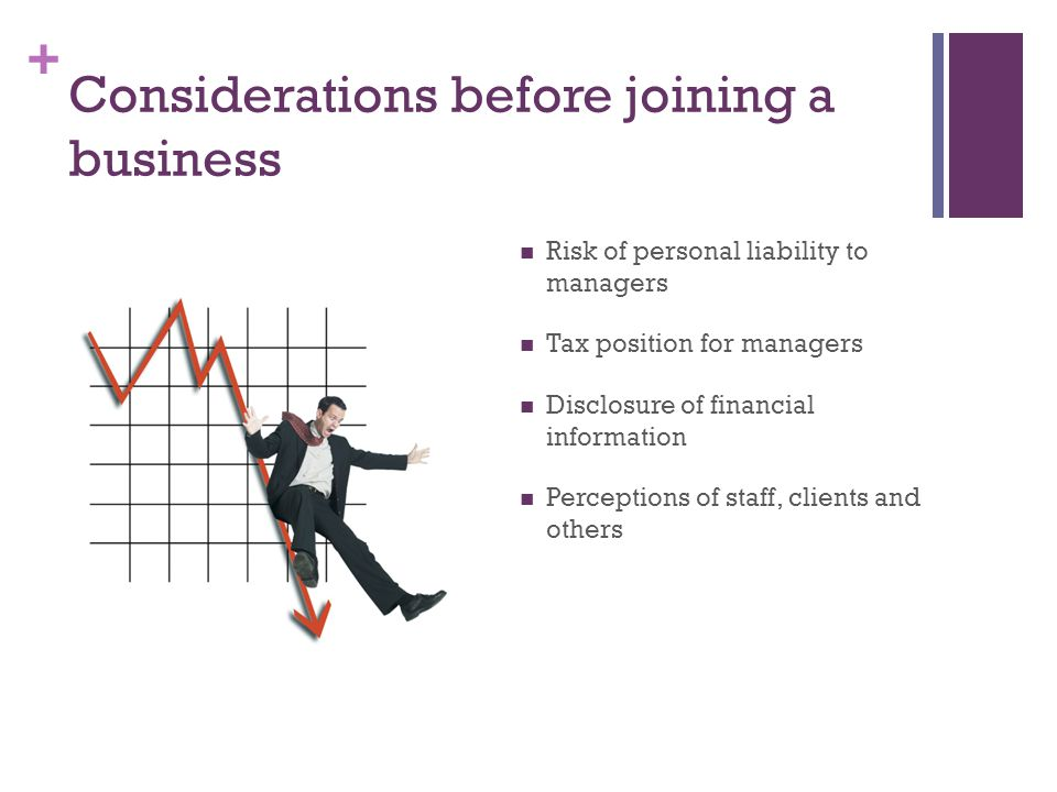 + Considerations before joining a business Risk of personal liability to managers Tax position for managers Disclosure of financial information Perceptions of staff, clients and others