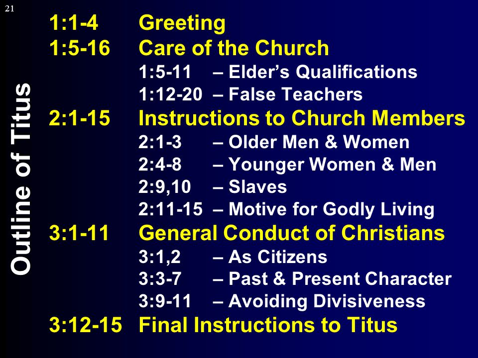 21 Outline of Titus 1:1-4Greeting 1:5-16Care of the Church 1:5-11 – Elder's Qualifications 1:12-20 – False Teachers 2:1-15Instructions to Church Members 2:1-3 – Older Men & Women 2:4-8 – Younger Women & Men 2:9,10– Slaves 2:11-15 – Motive for Godly Living 3:1-11General Conduct of Christians 3:1,2 – As Citizens 3:3-7 – Past & Present Character 3:9-11 – Avoiding Divisiveness 3:12-15Final Instructions to Titus