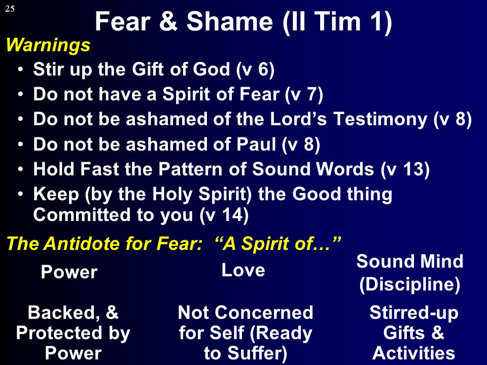 25 Fear & Shame (II Tim 1) Power Love Sound Mind (Discipline) Backed, & Protected by Power Not Concerned for Self (Ready to Suffer) Stirred-up Gifts & Activities Warnings The Antidote for Fear: A Spirit of… Stir up the Gift of God (v 6) Do not have a Spirit of Fear (v 7) Do not be ashamed of the Lord's Testimony (v 8) Do not be ashamed of Paul (v 8) Hold Fast the Pattern of Sound Words (v 13) Keep (by the Holy Spirit) the Good thing Committed to you (v 14)