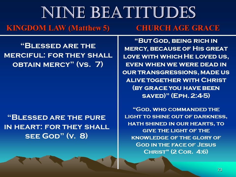 "73 Nine Beatitudes KINGDOM LAW (Matthew 5) CHURCH AGE GRACE ""Blessed are the merciful: for they shall obtain mercy"" (vs. 7) ""But God, being rich in me"