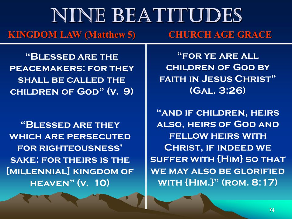 "74 Nine Beatitudes KINGDOM LAW (Matthew 5) CHURCH AGE GRACE ""Blessed are the peacemakers: for they shall be called the children of God"" (v. 9) ""for ye"