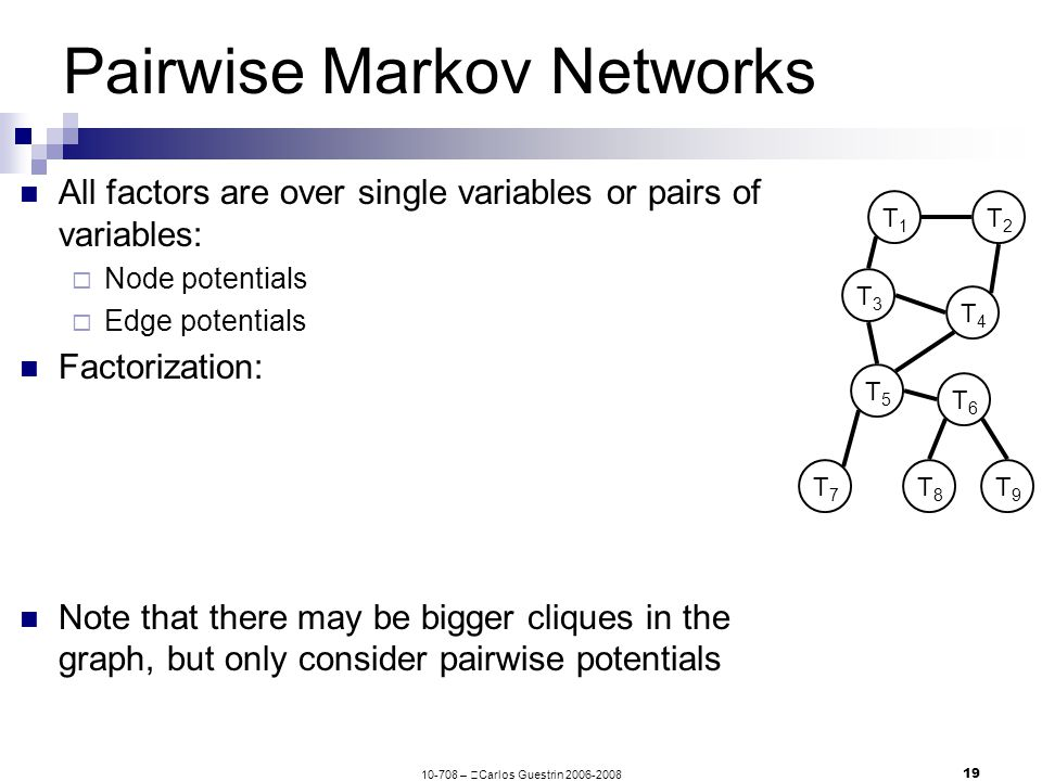 10-708 –  Carlos Guestrin 2006-2008 19 Pairwise Markov Networks All factors are over single variables or pairs of variables:  Node potentials  Edge potentials Factorization: Note that there may be bigger cliques in the graph, but only consider pairwise potentials T1T1 T3T3 T4T4 T5T5 T6T6 T2T2 T7T7 T8T8 T9T9