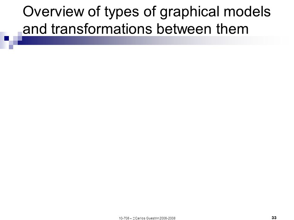 –  Carlos Guestrin Overview of types of graphical models and transformations between them