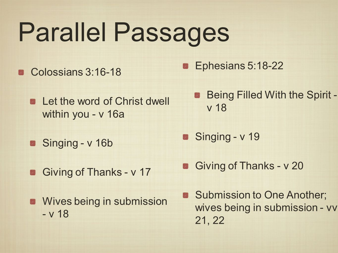 Parallel Passages Colossians 3:16-18 Let the word of Christ dwell within you - v 16a Singing - v 16b Giving of Thanks - v 17 Wives being in submission