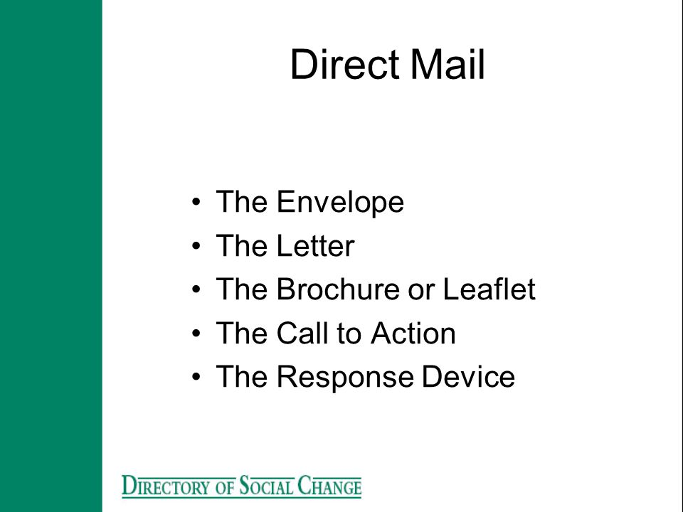 The Envelope The Letter The Brochure or Leaflet The Call to Action The Response Device Direct Mail