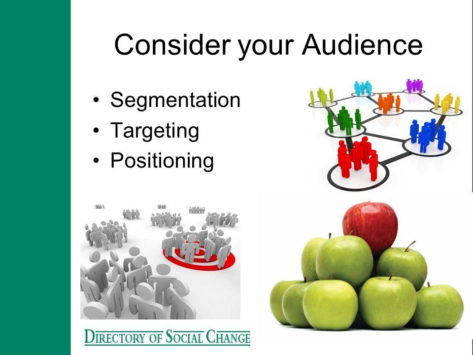 Consider your Audience Segmentation Targeting Positioning