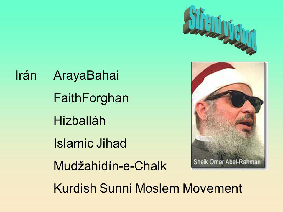 Irán ArayaBahai FaithForghan Hizballáh Islamic Jihad Mudžahidín-e-Chalk Kurdish Sunni Moslem Movement