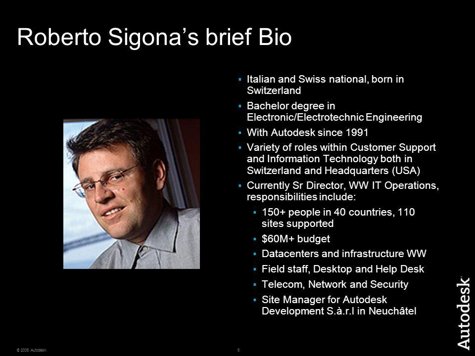 6© 2006 Autodesk Roberto Sigona's brief Bio  Italian and Swiss national, born in Switzerland  Bachelor degree in Electronic/Electrotechnic Engineeri