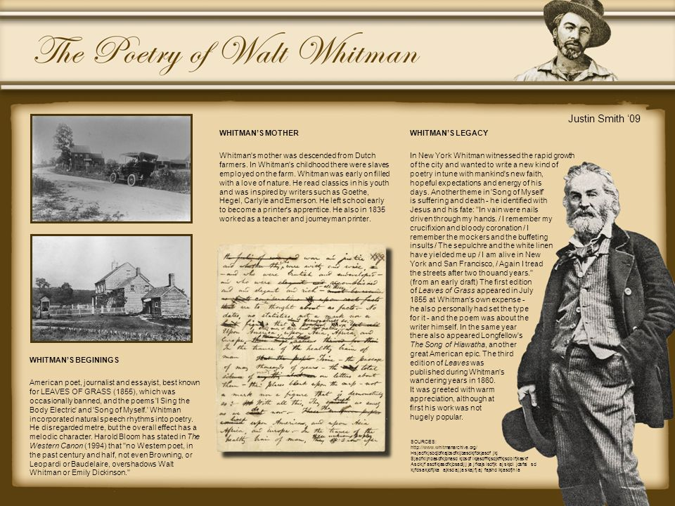 WHITMAN'S BEGININGS American poet, journalist and essayist, best known for LEAVES OF GRASS (1855), which was occasionally banned, and the poems 'I Sin