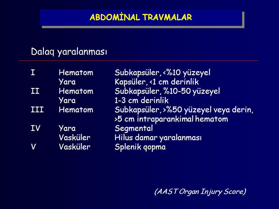 ABDOMİNAL TRAVMALAR Dala q yaralanması IHematomSubkapsüler, <%10 yüzeyel YaraKapsüler, <1 cm derinlik IIHematomSubkapsüler, %10-50 yüzeyel Yara1-3 cm