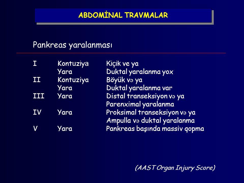 Pankreas yaralanması IKont u z i y aKiçik ve ya YaraDuktal yaralanma yox IIKontuziyaBöyük v ə ya YaraDuktal yaralanma var IIIYaraDistal transeksiyon v