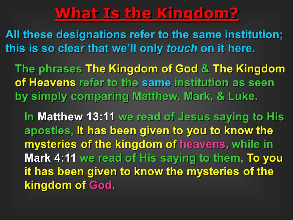 As just implied in our introductory remarks to the answering of this question, this kingdom has been in the works since the beginning, even before the beginning, in fact: in Matthew 25:34 Jesus said, Come … inherit the kingdom prepared for you from the foundation of the world.