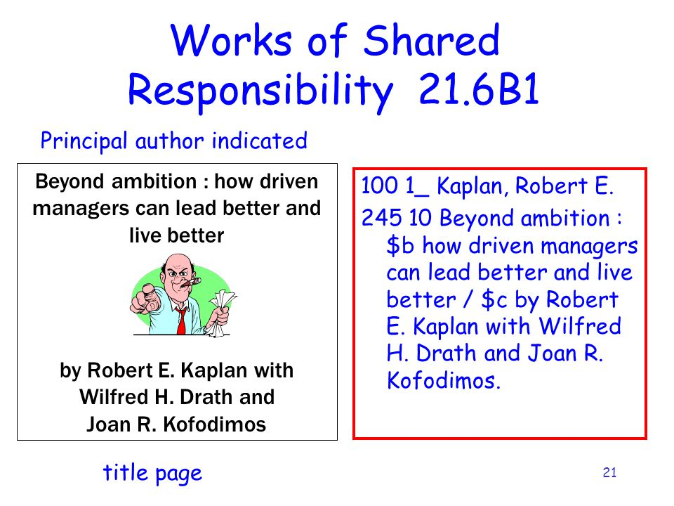 21 Works of Shared Responsibility 21.6B1 100 1_ Kaplan, Robert E. 245 10 Beyond ambition : $b how driven managers can lead better and live better / $c