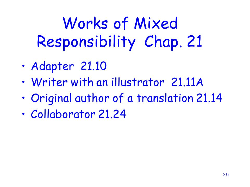 25 Works of Mixed Responsibility Chap. 21 Adapter 21.10 Writer with an illustrator 21.11A Original author of a translation 21.14 Collaborator 21.24