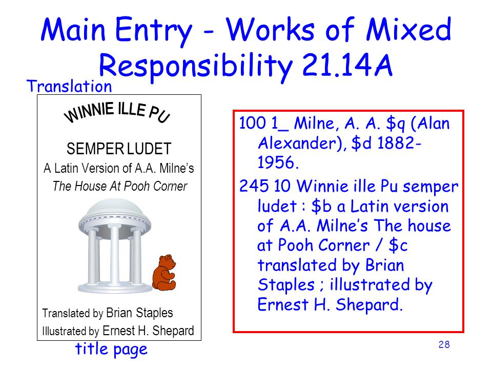 28 Main Entry - Works of Mixed Responsibility 21.14A SEMPER LUDET A Latin Version of A.A. Milne's The House At Pooh Corner Translated by Brian Staples