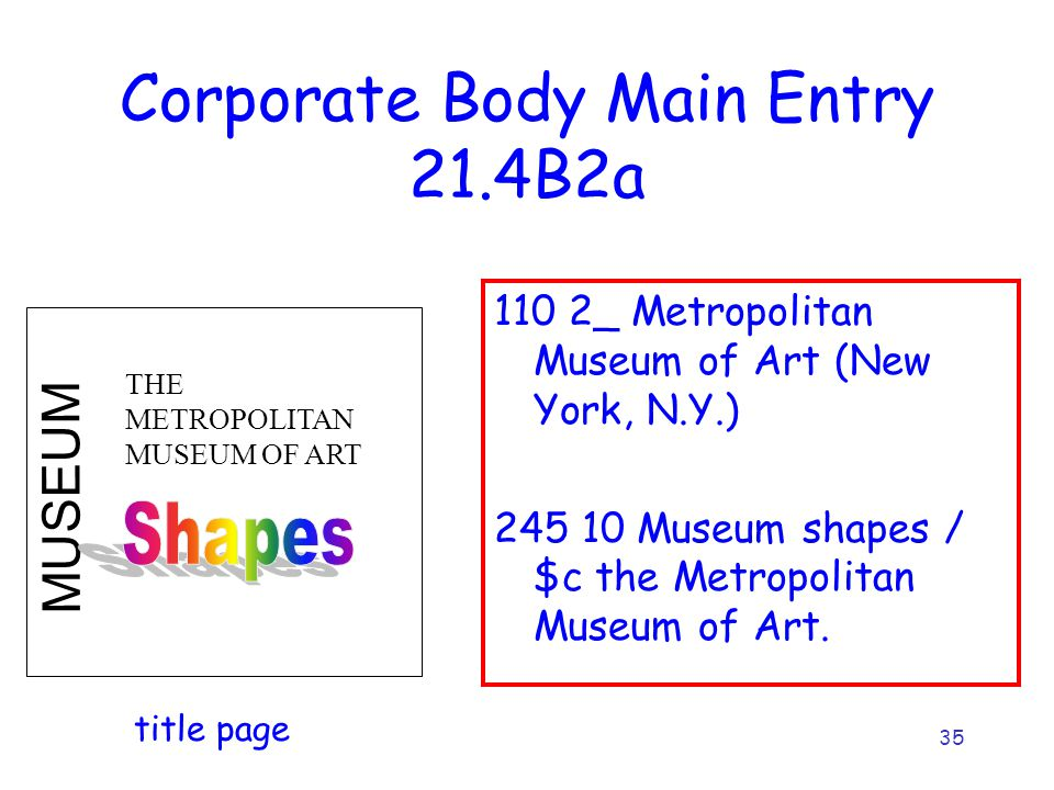 35 Corporate Body Main Entry 21.4B2a 110 2_ Metropolitan Museum of Art (New York, N.Y.) 245 10 Museum shapes / $c the Metropolitan Museum of Art. MUSE