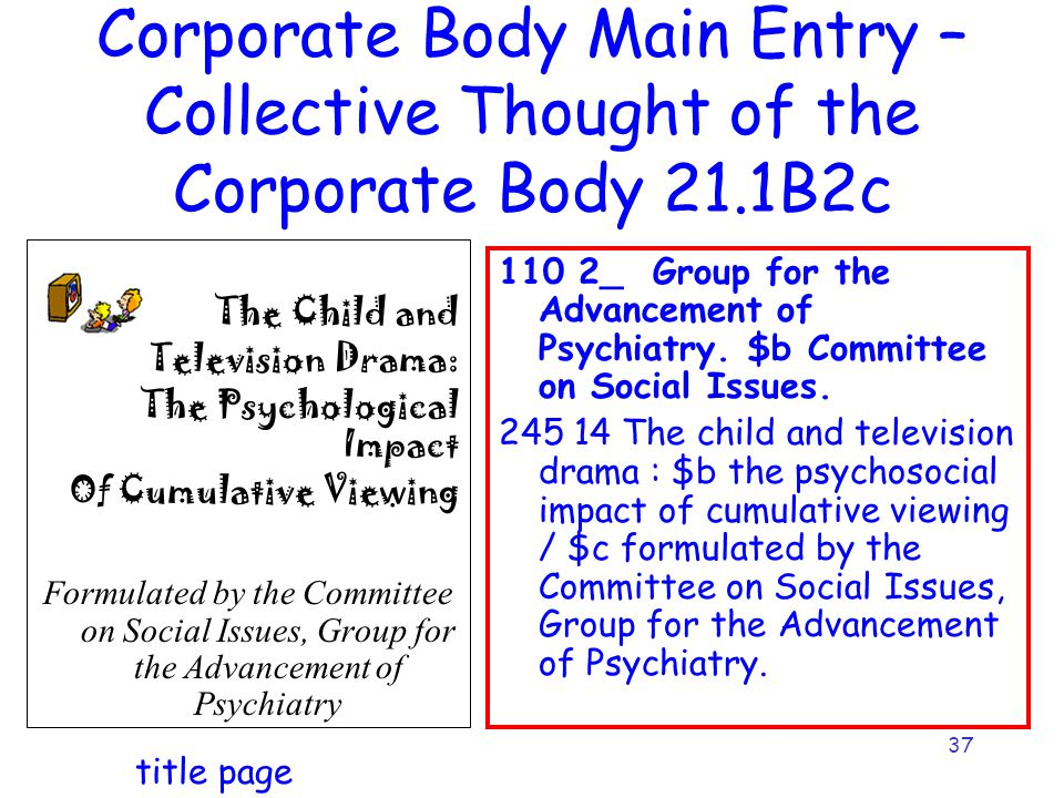 37 Corporate Body Main Entry – Collective Thought of the Corporate Body 21.1B2c 110 2_ Group for the Advancement of Psychiatry. $b Committee on Social
