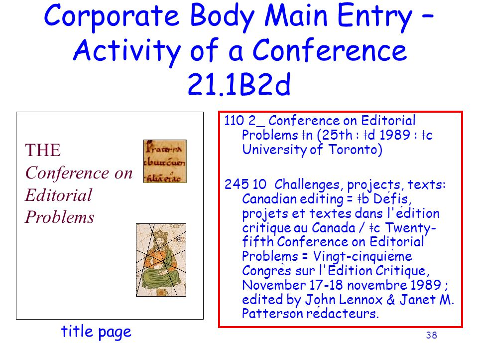 38 Corporate Body Main Entry – Activity of a Conference 21.1B2d 110 2_ Conference on Editorial Problems ǂ n (25th : ǂ d 1989 : ǂ c University of Toron