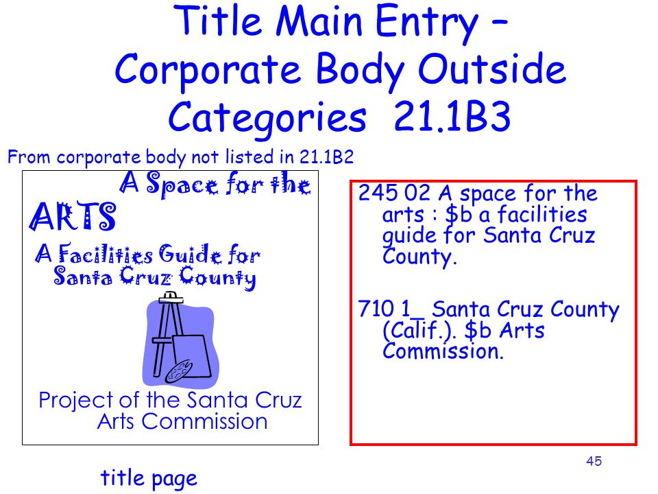 45 Title Main Entry – Corporate Body Outside Categories 21.1B3 A Space for the ARTS A Facilities Guide for Santa Cruz County Project of the Santa Cruz