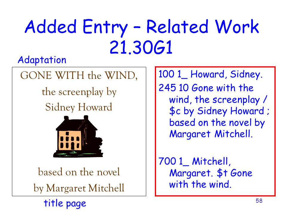 58 Added Entry – Related Work 21.30G1 100 1_ Howard, Sidney. 245 10 Gone with the wind, the screenplay / $c by Sidney Howard ; based on the novel by M