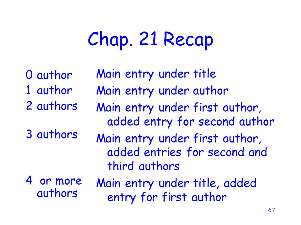 67 Chap. 21 Recap 0author 1author 2authors 3authors 4 or more authors Main entry under title Main entry under author Main entry under first author, ad