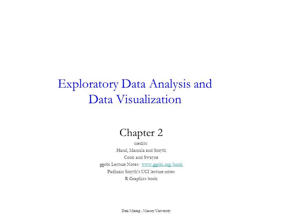 Data Mining - Massey University Exploratory Data Analysis and Data Visualization Chapter 2 credits: Hand, Mannila and Smyth Cook and Swayne ggobi Lect