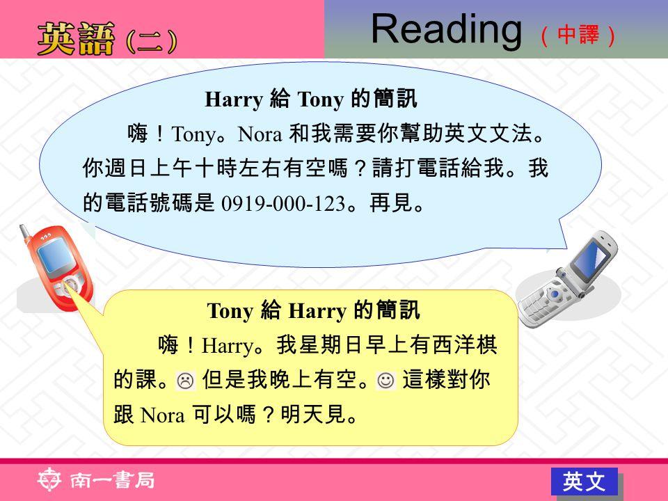 Harry 給 Tony 的簡訊 嗨! Tony 。 Nora 和我需要你幫助英文文法。 你週日上午十時左右有空嗎?請打電話給我。我 的電話號碼是 0919-000-123 。再見。 Tony 給 Harry 的簡訊 嗨! Harry 。我星期日早上有西洋棋 的課。 但是我晚上有空。 這樣對你 跟 Nora 可以嗎?明天見。 Reading (中譯) 英文