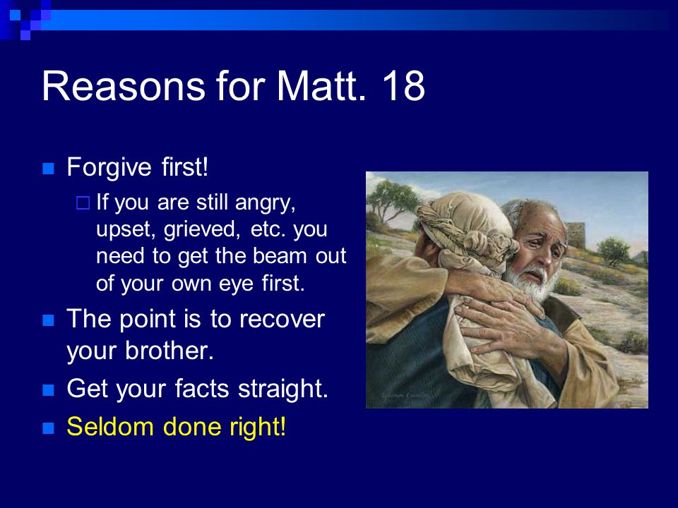 The Deceptive Mind and Forgiveness Forgiveness means apathy. I'll forgive after it is dealt with properly. From which position are we best able to judge righteously.