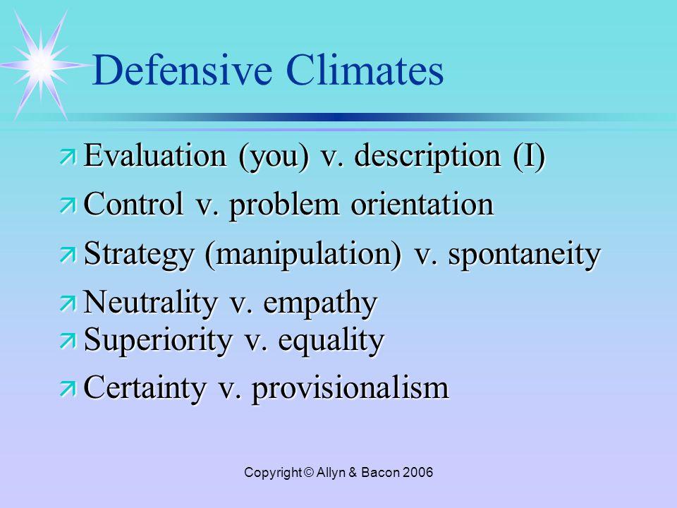 Copyright © Allyn & Bacon 2006 Defensive Climates ä Evaluation (you) v.